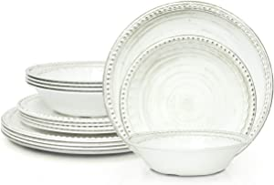 Zak Designs French Country House Melamine Dinnerware Set Includes Dinner Plates, Salad Plates, and Individual Bowls, Durable and BPA Free (Lavage Oyster, 12-Piece Dinnerware Set, Service for 4)