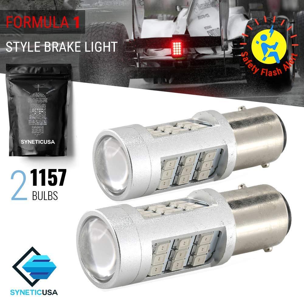 3157 Red LED Stop Brake Flash Strobe Rear Alert Safety Warning 33-LED Light Bulbs
