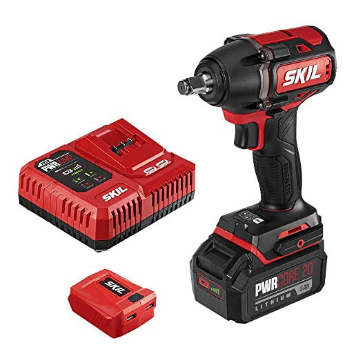 SKIL PWR CORE 20 Brushless 20V 1 2 Impact Wrench, Included 5.0Ah Battery, PWRJump Charger and PWRAssist USB Adapter – IW5739-1A