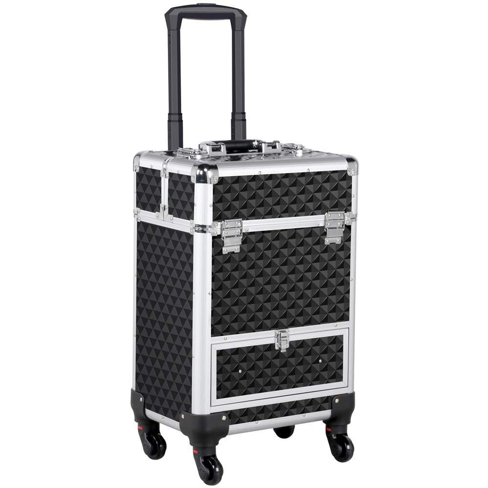 Topeakmart Professional Large Makeup Case Artist Rolling Professional Cosmetic Organizer Trolley Portable Travel Makeup Train Case Big Lockable