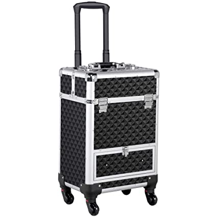 ccf0c5ba4d79 Yaheetech Large Makeup Case Rolling Cosmetic Vanity Case Lockable  Travelling Beauty Trolley Suitcase Box Storage Organiser (4 Retractable  Trays, ...