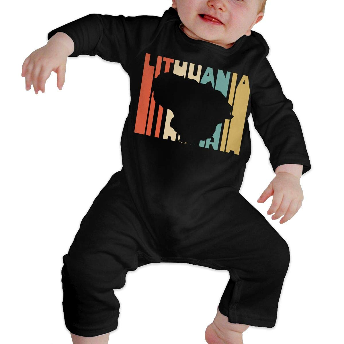 Long Sleeve Cotton Bodysuit for Unisex Baby Cute Retro Style Lithuania Silhouette Playsuit