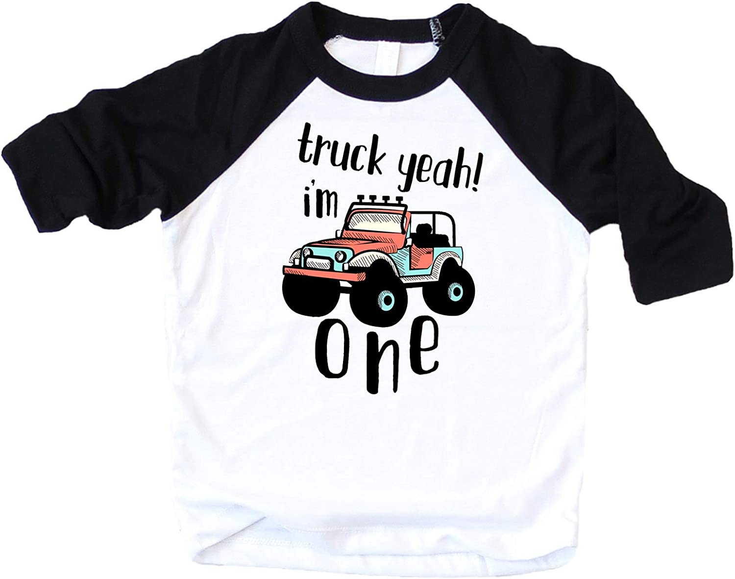 Boys 1st Birthday Outfit Truck Funny Truck Yeah I'm One 1st Birthday Bodysuit