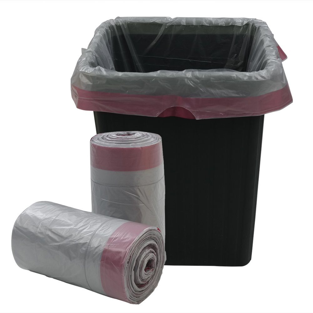 Qsbon Gray 8 Gallon Drawstring Kitchen Trash Bag, 125 Counts