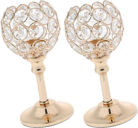 Blesiya Set 2 Tall Glass Pillar Candle Holder Stand Wedding Centerpieces