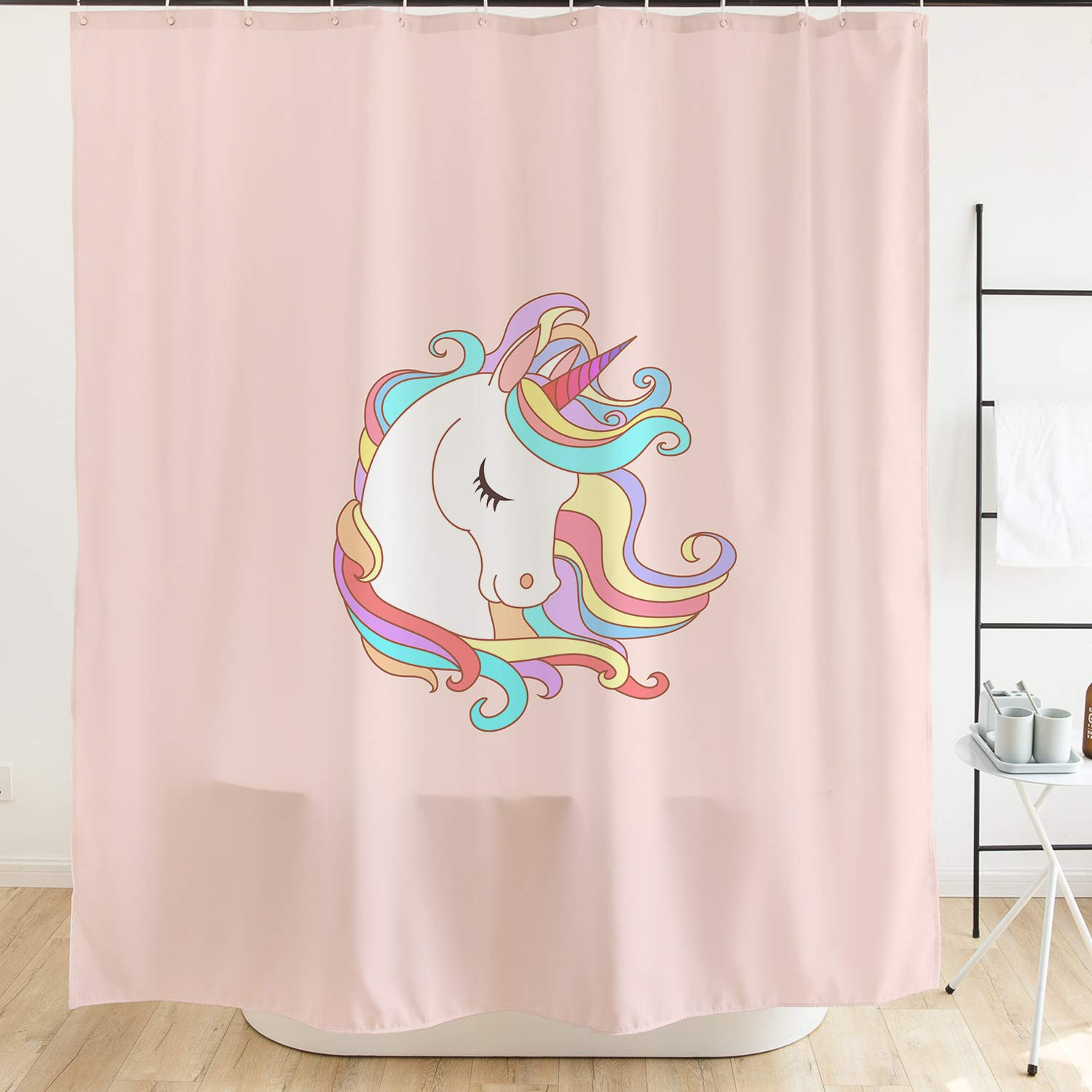 Ofat Home Colorful Cartoon Pink Unicorn Kids Shower Curtain with Hooks 71x71 inch Waterproof Mildew Resistant Fabric, No Liner Needed Children's Bathroom Gift Decor Accessories