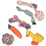 Oziral Dog Rope Toys [6 Pack] Puppy Braided Rope Toys Set Pet Dog Teeth Cleaning Gift Chew Durable Interactive Cotton Toys Dental Health for Small/Medium/Large Dog Playing