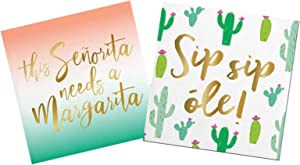 Margarita Cocktail Napkins And Cactus Napkins for Mexican Fiesta Themed Birthday or Wedding Party | Paper Napkin Set for use with Cocktail Beverage, Luncheon, Dessert | 2 Packs Of 20 Napkins