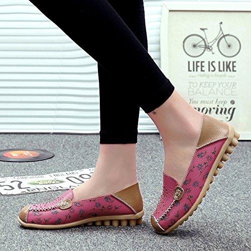 VenusCelia Frauen Floraler Komfort Walking Flat Loafer Rosa (hohl)