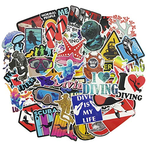 Outdoor Sport Diving Stickers for Laptop, Vinyl Water Bottle Computer Phone Notebook Luggage Guitar Skateboard Decal 60Pcs Pack