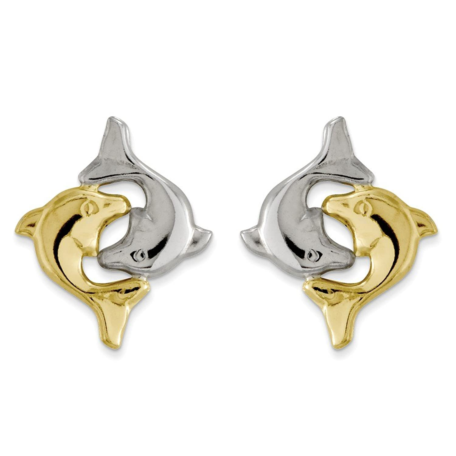 14k Gold Madi K w/Rhodium Dolphin Post Earrings