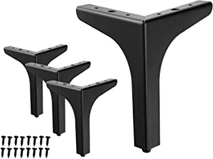 WEICHEN 7 inches Metal Furniture Legs Metal Polishing Black Triangle Sofa Legs for Table Cabinet Cupboard Sofa Furniture Feet Set of 4 (7 inches)