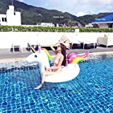 Inflatable Unicorn Floating Bed Pool Outdoor Toy Raft Lounger Adult Swimming Ring Water Recreation Leisure Chair Sports (200*100*90cm)