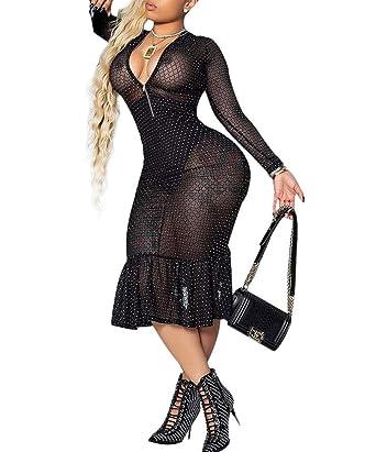 75227a86b2496 Women's Sexy Deep V Neck Mesh See Through Rhinestone Bodycon Party Dress  Clubwear (S,