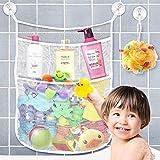 Yihoon Bath Toy Organizer Shower Caddy - for Bathroom Baby Toy Storage Quick Dry Bathtub Mesh Net + 4 Soap Pockets with Suction Hooks