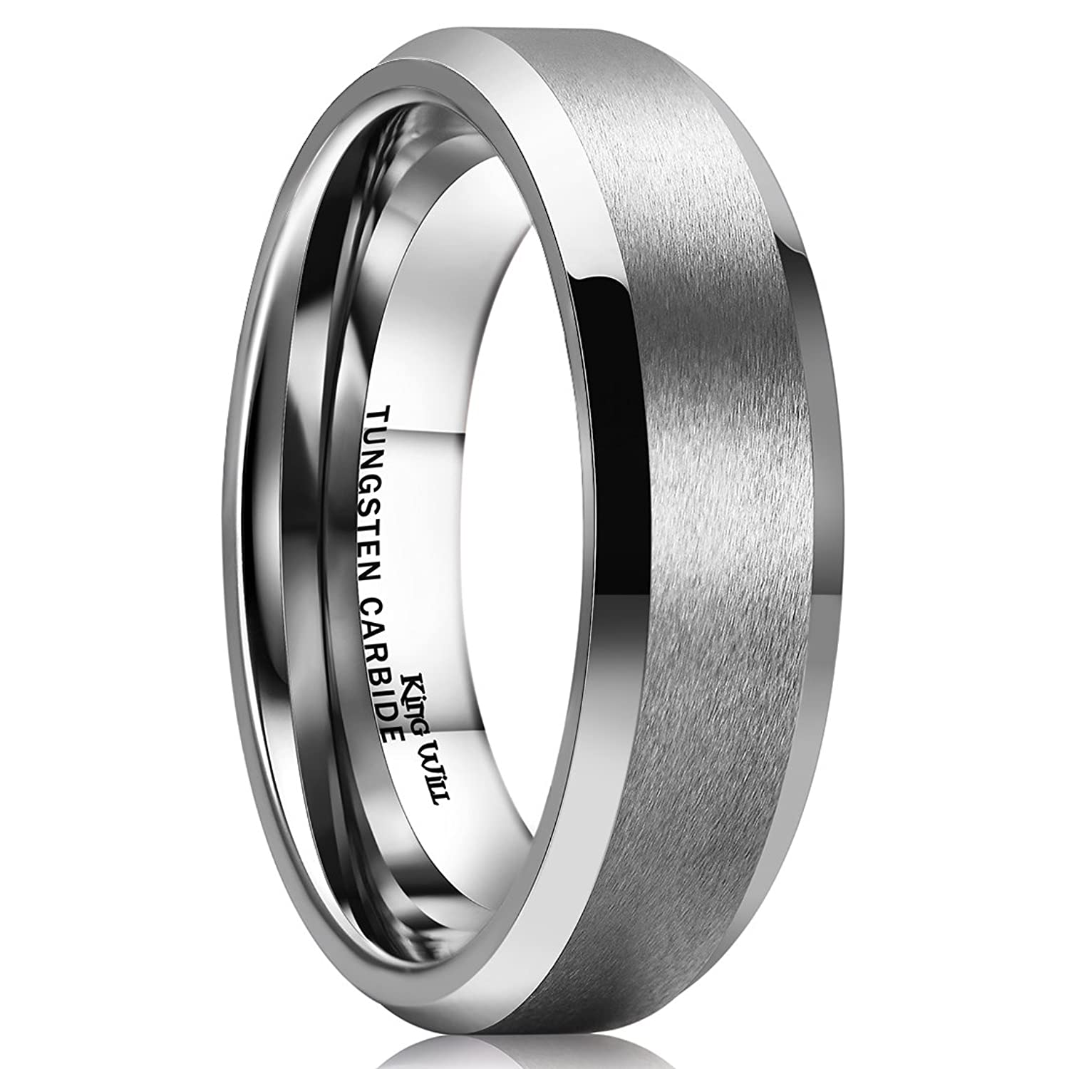 Merveilleux King Will 6MM Wedding Band For Men Tungsten Carbide Ring Engagement Ring  Comfort Fit Beveled Edges