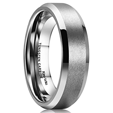 King Will 6MM Wedding Band For Men Tungsten Carbide Engagement Ring Comfort  Fit Beveled Edges (