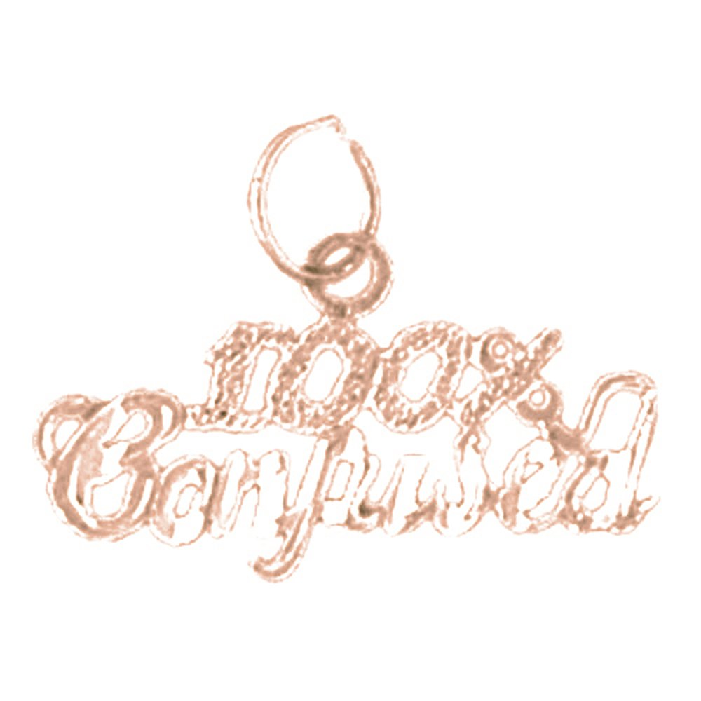 14K Rose Gold-plated 925 Silver 100/% Confused Saying Pendant with 16 Necklace Jewels Obsession Saying Necklace