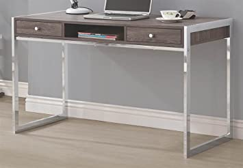 coaster 801221 home furnishings desk weathered greychrome amazoncom coaster shape home office