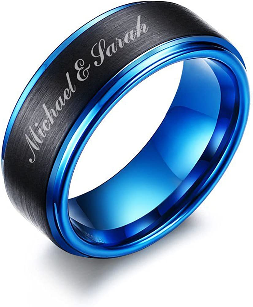 Mealguet Jewelry Personalized Free Custom Engraving Two-Tone Brushed Finish Tungsten Carbide Custom Name Wedding Ring Band for Men
