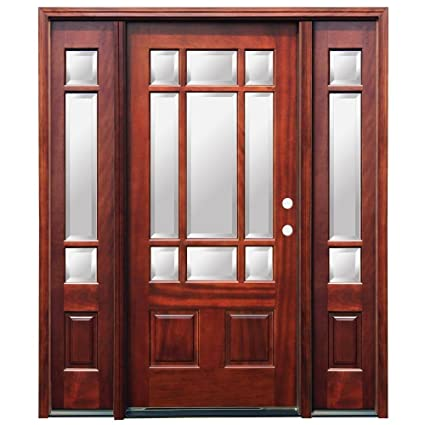 Amazon Craftsman 9 Lite Stained Mahogany Wood Entry Door With
