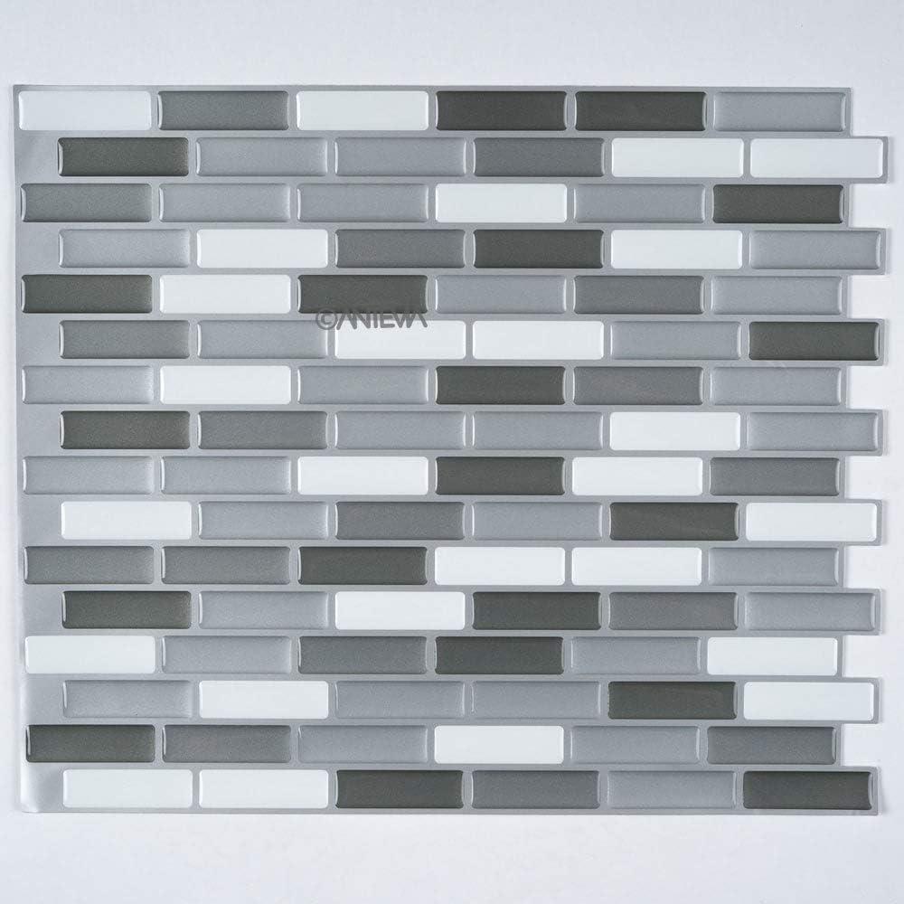 ANTEVIA/® Carrelage mural auto-adh/ésif 3D mosa/ïque Lot de 6 - Surface : 0,558m2 Mosa/ïque petits hexagones 02