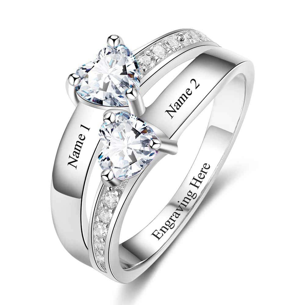 Lam Hub Fong Sterling Silver Engagement Ring Promise Ring For Her 2 Heart Birthstones 2 Names & 1 Engraving Customized & Personalized