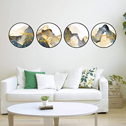Ordinaire North King Four Oil Paintings Round Frame Morden Fashion Decorative  Abstract Landscape Painting House Decoration Items