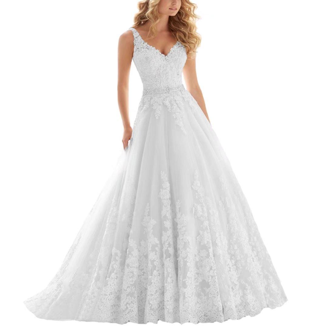 Fair Lady Lace V Neck Wedding Dress Beaded Bridal Dresses Appliques Straps Wedding Gown FLLF023