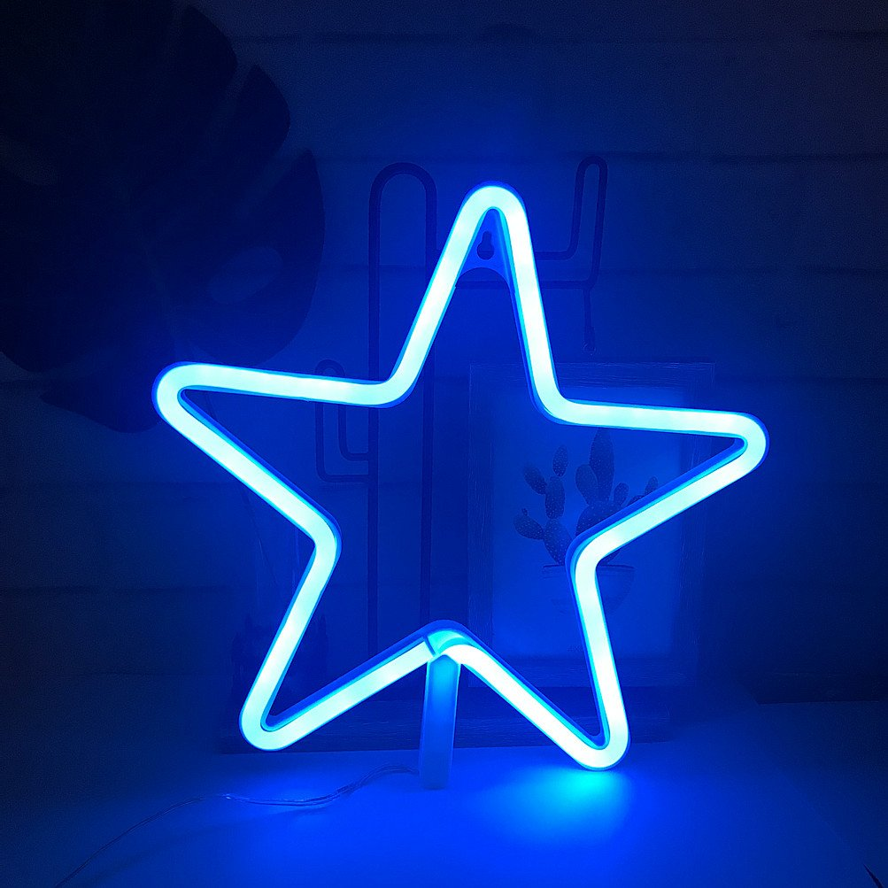 Blue Theme Home/Party Decor Light,Cute Neon Star Sign Shaped Decor  Light,Marquee Signs/Wall Decor for Christmas,Birthday Party,Kids Room,  Living Room,