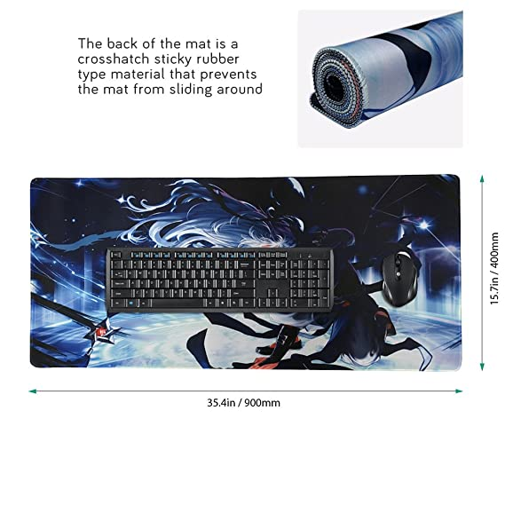 Beyme - Alfombrilla de ratón para videojuegos (tamaño extendido, base de goma antideslizante, bordes cosidos, tamaño grande, 900 x 400 x 2 mm): Amazon.es: ...