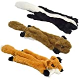 UOLIWO Stuffingless Dog Toys with Squeaker, Durable No Stuffing Squeaky Plush Dog Chew Toy Set with Squirrel Skunk Fox for Small Medium and Large Dogs 3 Packs