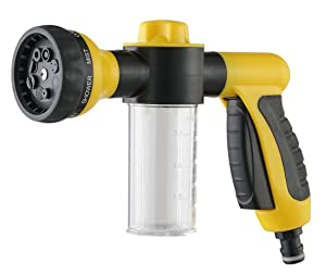 A3020 Garden Hose Nozzle / Hand Sprayer, 8 Spray Pattern Adjustable Water Gun & Soap Dispenser-Garden Hose Nozzle/Car Wash,High Pressure,Suitable for Car Wash, Cleaning, Watering Lawn and Garden