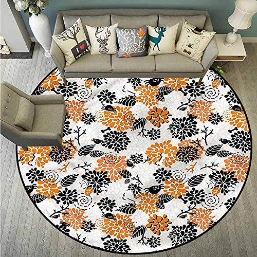Round Rugs,Doodle,Halloween Floral Pattern,Easy Clean Rugs,5'3