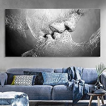 Wandbild Prints, Essort Leinwand Malerei, Schwarz und Weiß Love Kiss  Kunstdruck Bild für Wohnzimmer, Schlafzimmer, Restaurant, Hotel Decor, (  Kein ...