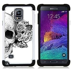 For Samsung Galaxy Note 4 SM-N910 N910 - SKULL ROSES FLORAL DEATH TATTOO METAL Dual Layer caso de Shell HUELGA Impacto pata de cabra con im??genes gr??ficas Steam - Funny Shop -