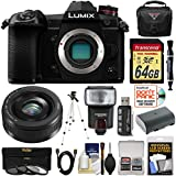 Panasonic Lumix DC-G9 4K Wi-Fi Digital Camera Body with 20mm f/1.7 Lens + 64GB Card + Battery + Case + Flash + Tripod Kit