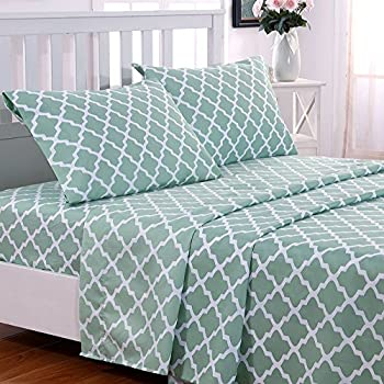 Lovely Egyptian Luxury Quatrefoil Pattern Bed Queen Sheets Set 1800 Bedding    Wrinkle, Fade, Stain