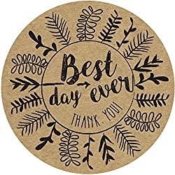Kraft Brown Paper Stickers and Stationery Envelope Seals for Weddings, Bridal Showers, Baby Showers and Parties 60 ct Best Day Ever, Thank You