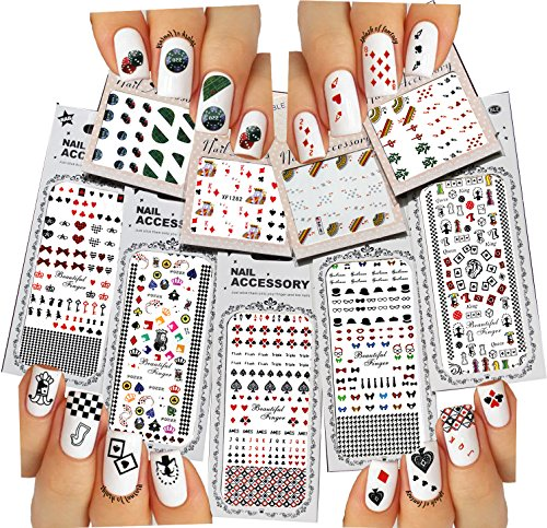 Nail Art Water Slide Tattoos ♥ Fun Designs: Playing Cards, etc. ♥ For a Fun Manicure 9 - Pack /PLI/ (Tattoo Playing Cards)