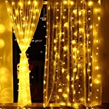 Icicle String Fairy Light Curtain Lights 306 LED, 8 Modes, 9.8×9.8ft (Warm White) Ambiance Background Lighting for Wedding/Festival/Party/Garden/Home Decoration