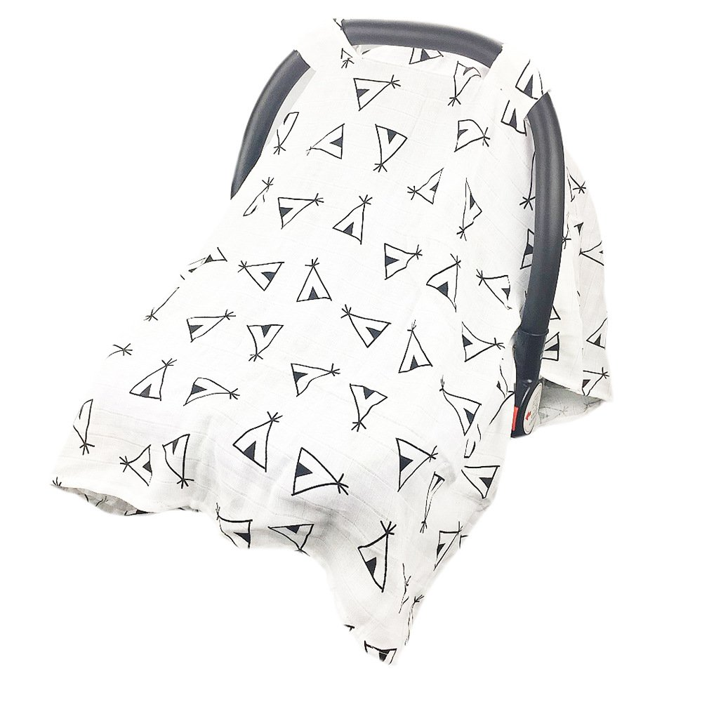 Muslin Cotton Baby Carseat Canopy, Infant Carrier Cover, Safety Basket Case, Breathable Stroller Sunshade Covers (Tent, Children: L) Romiracle
