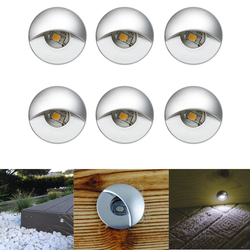 FVTLED 6pcs Low Voltage LED Step Lights Kit 1-1/25'' Half Moon Aluminum Outdoor Wood Deck Lighting Yard Garden Patio Stair LED Light Decoration Lamps, Warm White