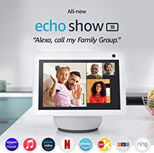 All-new Echo Show 10 (3rd Gen) | HD smart display with motion and Alexa | Glacier White