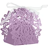 Zorpia New Arrival 50PS laser Cut Wedding Candy Box Favor Gifts Boxes Wedding Party Centerpieces Holiday Supplies/ wedding hollow butterfly candy box ZRA0168890 (Purple)