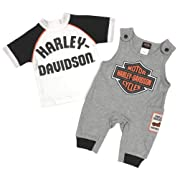 Harley-Davidson Baby Boys' B&S 2-Piece Knit Overall Set - Gray & White (6/9M)
