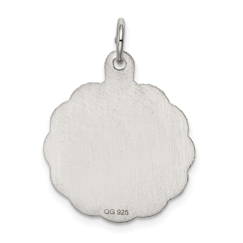 FB Jewels Solid 925 Sterling Silver Cro925 Sterling Silver Disc Charm
