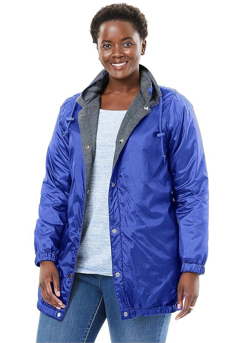 Woman Within Plus Size Reversible Jacket,Water-Resistant Nylon To Cozy Fleece