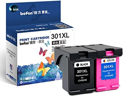 befon Sustitución del Cartucho de Tinta para 301 X L HP301 XL CH563EE CH564EE Color Negro Pack de 1 Compatible para HP DeskJet D1000 1050 2000 2050 2510 3000 3050 A 3054 A (301BK/C): Amazon.es: Oficina y papelería