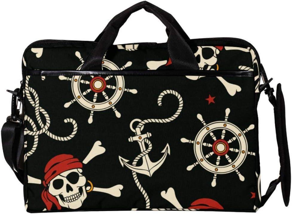 Lightweight 15 inch Laptop Bag Business Messenger Briefcases Pector Pirates Skull Waterproof Computer Tablet Shoulder Bag Carrying Case Handbag for Men and Women